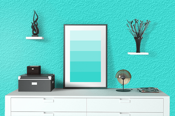 Pretty Photo frame on Pure Turquoise color drawing room interior textured wall