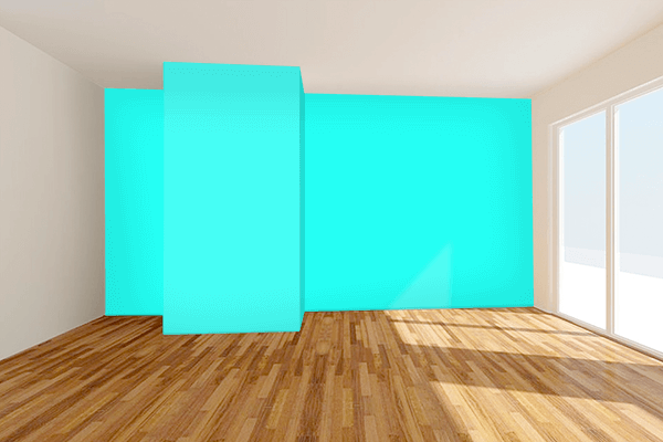 Pretty Photo frame on Pure Turquoise color Living room wal color