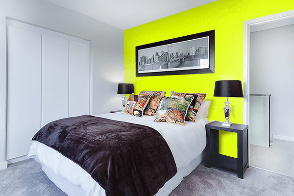 Pretty Photo frame on Chartreuse Yellow color Bedroom interior wall color