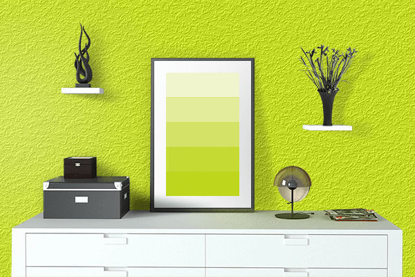 Pretty Photo frame on Chartreuse Yellow color drawing room interior textured wall