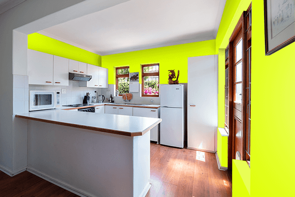 Pretty Photo frame on Chartreuse Yellow color kitchen interior wall color