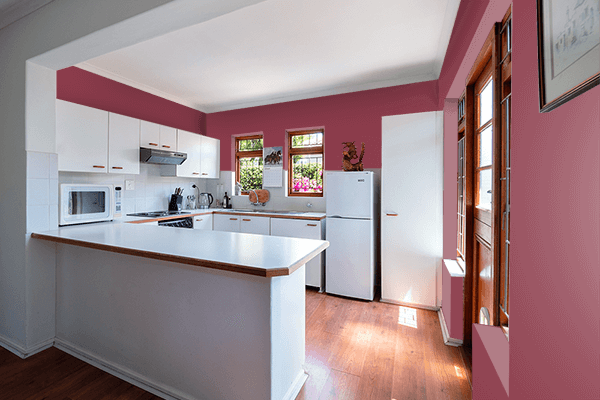 Pretty Photo frame on Red Violet (RAL) color kitchen interior wall color