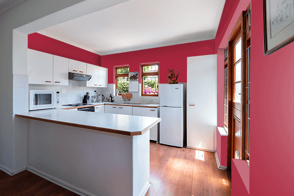Pretty Photo frame on Raspberry Red (RAL) color kitchen interior wall color