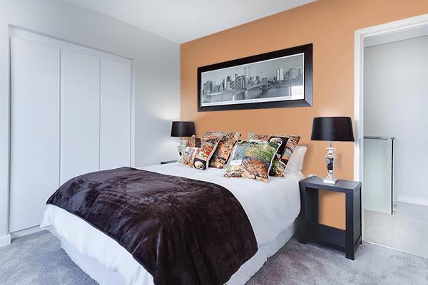 Pretty Photo frame on Faded Orange color Bedroom interior wall color