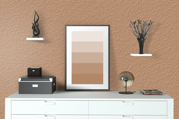 Pretty Photo frame on Faded Orange color drawing room interior textured wall