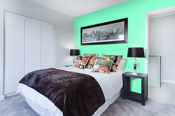 Pretty Photo frame on Neon Mint color Bedroom interior wall color