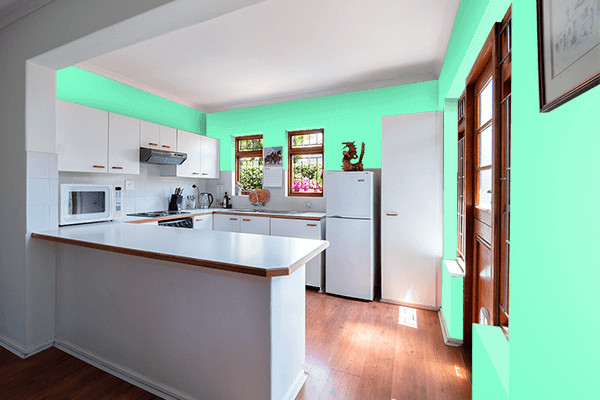 Pretty Photo frame on Neon Mint color kitchen interior wall color