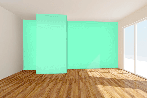 Pretty Photo frame on Neon Mint color Living room wal color
