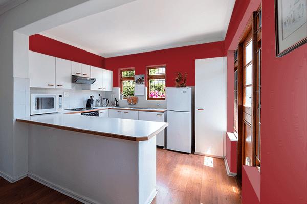 Pretty Photo frame on 真朱 (Shinshu) color kitchen interior wall color