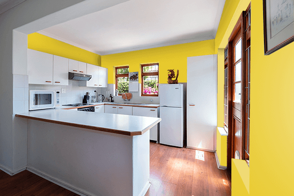 Pretty Photo frame on New Gold CMYK color kitchen interior wall color