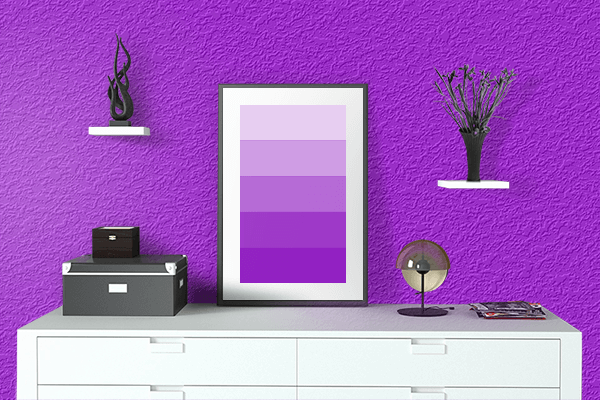 Pretty Photo frame on Spectrum Violet color drawing room interior textured wall