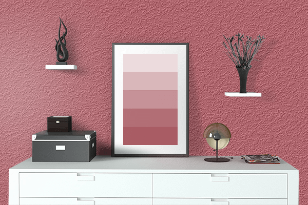Pretty Photo frame on Pastel Wine Red color drawing room interior textured wall