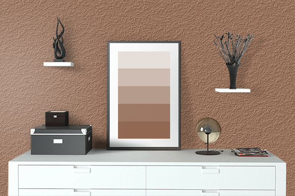 Pretty Photo frame on Milk Chocolate color drawing room interior textured wall