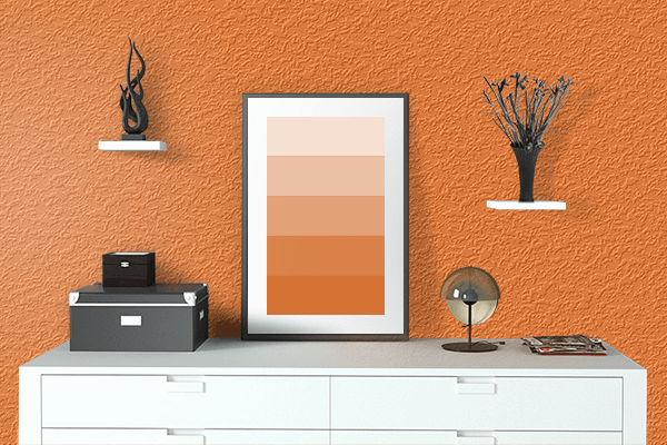 Pretty Photo frame on Indian Orange color drawing room interior textured wall