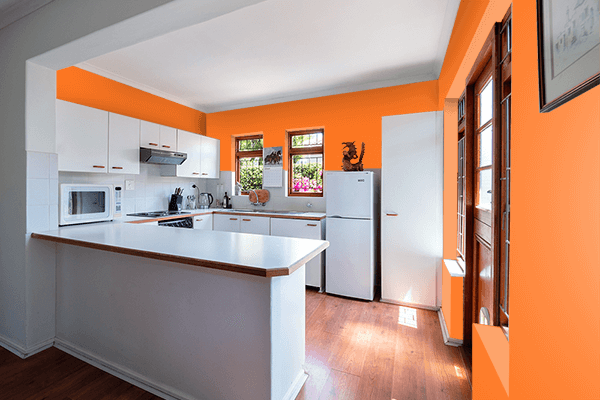 Pretty Photo frame on Indian Orange color kitchen interior wall color