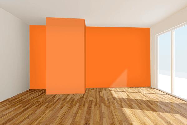 Pretty Photo frame on Indian Orange color Living room wal color