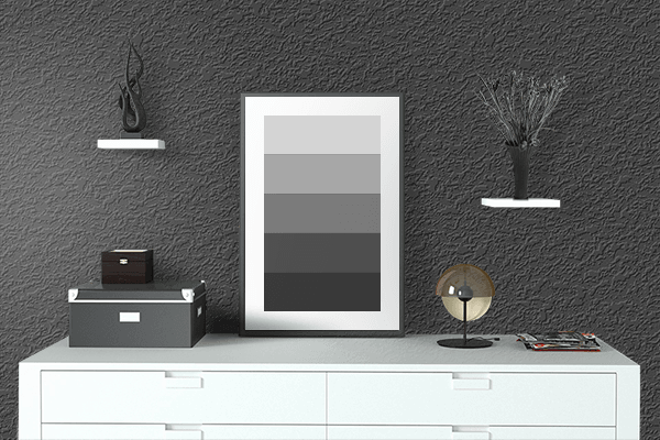 Pretty Photo frame on Electric Black color drawing room interior textured wall