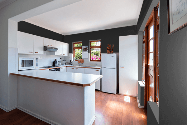 Pretty Photo frame on Electric Black color kitchen interior wall color