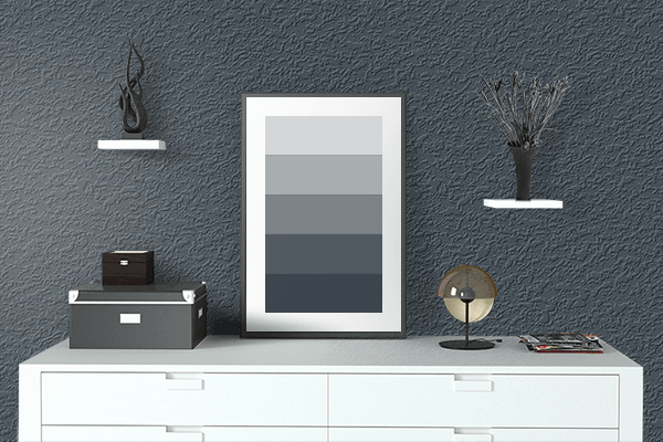 Pretty Photo frame on Grey Blue (RAL) color drawing room interior textured wall