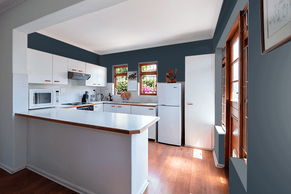 Pretty Photo frame on Grey Blue (RAL) color kitchen interior wall color