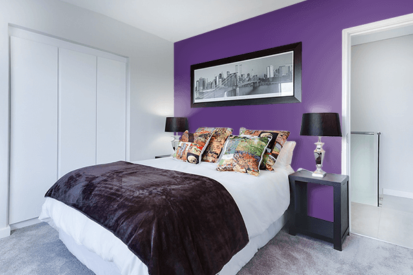 Pretty Photo frame on Dull Grape color Bedroom interior wall color