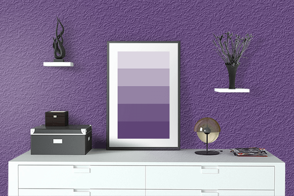 Pretty Photo frame on Dull Grape color drawing room interior textured wall