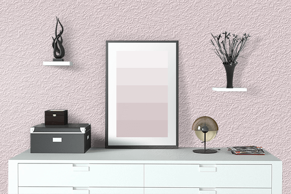 Pretty Photo frame on Seashell Pink color drawing room interior textured wall