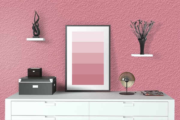 Pretty Photo frame on Pastel Berry color drawing room interior textured wall