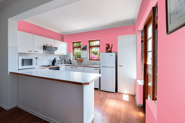 Pretty Photo frame on Pastel Berry color kitchen interior wall color