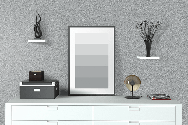 Pretty Photo frame on Antique Steel color drawing room interior textured wall