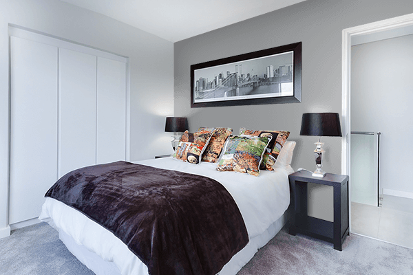 Pretty Photo frame on Ultimate Gray color Bedroom interior wall color