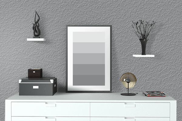 Pretty Photo frame on Ultimate Gray color drawing room interior textured wall