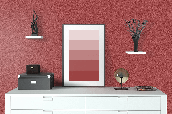 Pretty Photo frame on Luxury Red color drawing room interior textured wall