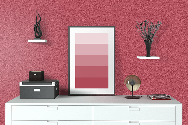 Pretty Photo frame on Brick Red color drawing room interior textured wall