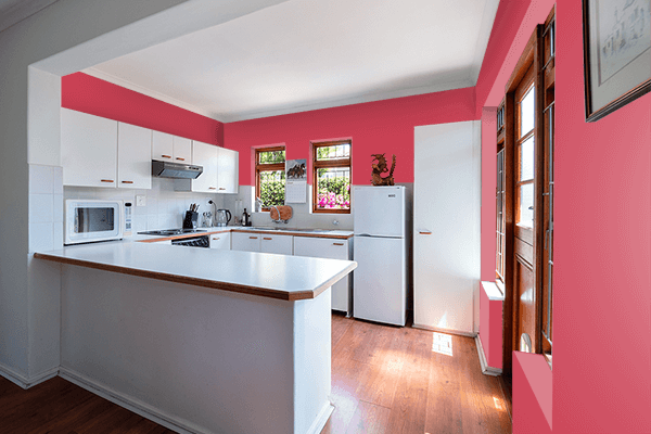 Pretty Photo frame on Brick Red color kitchen interior wall color