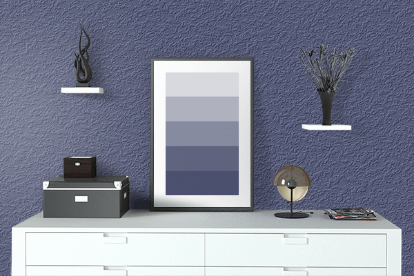 Pretty Photo frame on Royal Blue CMYK color drawing room interior textured wall