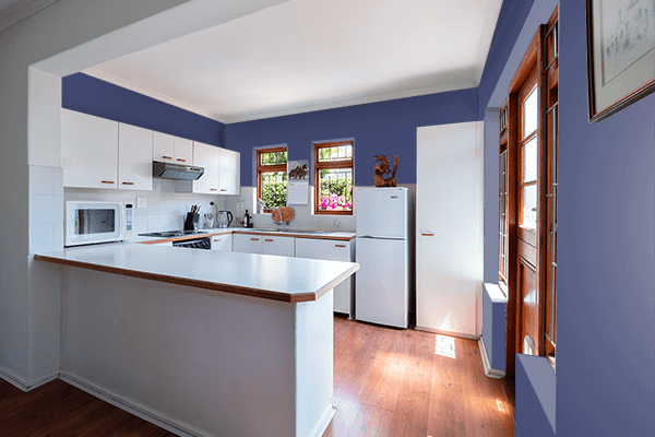 Pretty Photo frame on Royal Blue CMYK color kitchen interior wall color