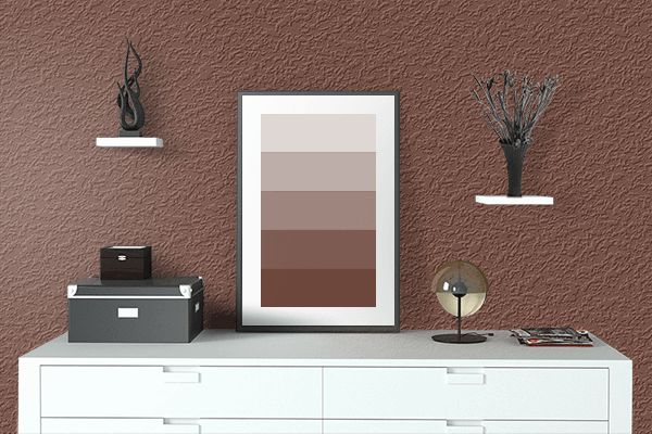 Pretty Photo frame on Deep Coffee Brown color drawing room interior textured wall