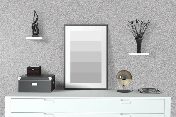 Pretty Photo frame on Ocean Gray color drawing room interior textured wall