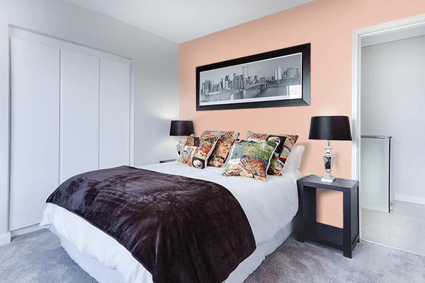 Pretty Photo frame on Skin color Bedroom interior wall color