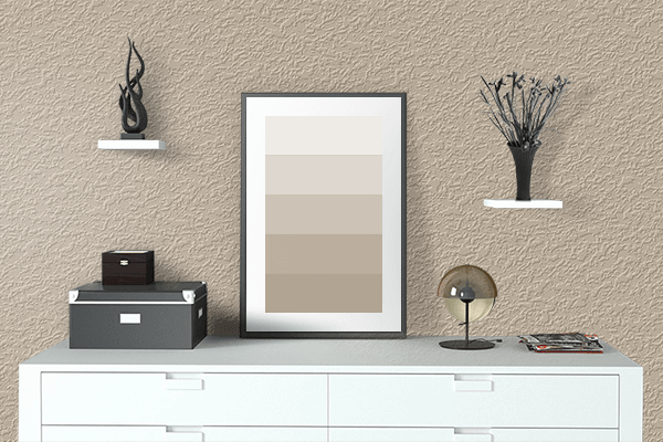 Pretty Photo frame on Oat color drawing room interior textured wall