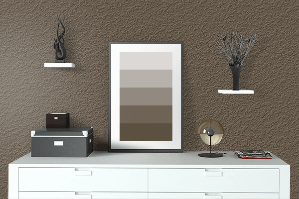 Pretty Photo frame on Dark Umber color drawing room interior textured wall