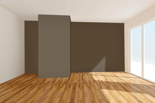 Pretty Photo frame on Dark Umber color Living room wal color