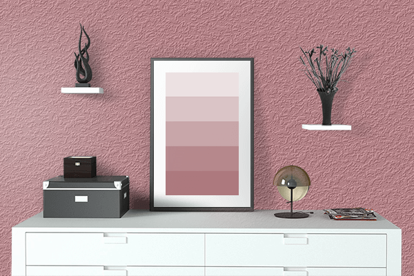 Pretty Photo frame on Matte Rouge color drawing room interior textured wall