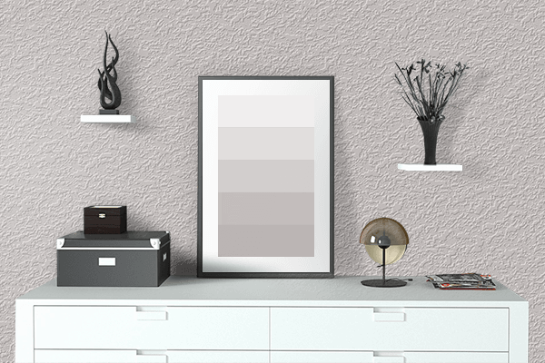 Pretty Photo frame on Smoky Cream color drawing room interior textured wall