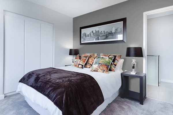 Pretty Photo frame on Pearl Dark Grey (RAL) color Bedroom interior wall color