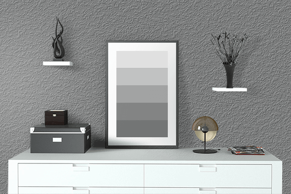 Pretty Photo frame on Pearl Dark Grey (RAL) color drawing room interior textured wall