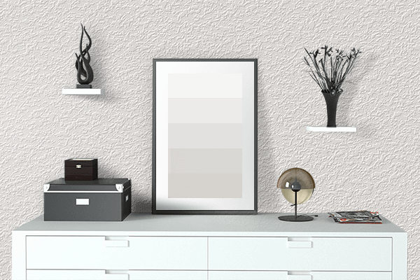 Pretty Photo frame on Cotton White color drawing room interior textured wall