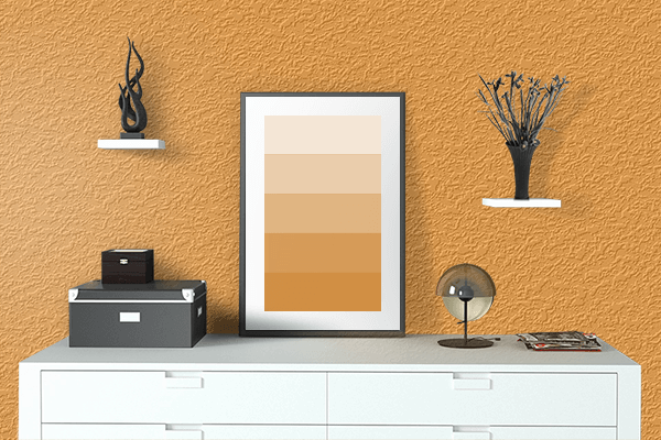 Pretty Photo frame on Best Orange color drawing room interior textured wall