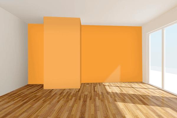 Pretty Photo frame on Best Orange color Living room wal color